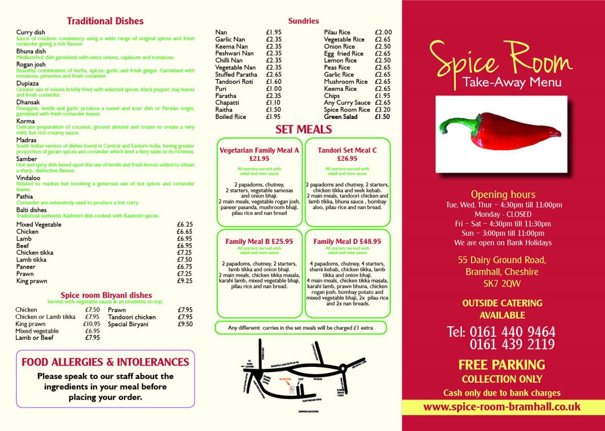 Spice Room Takeaway Menu
