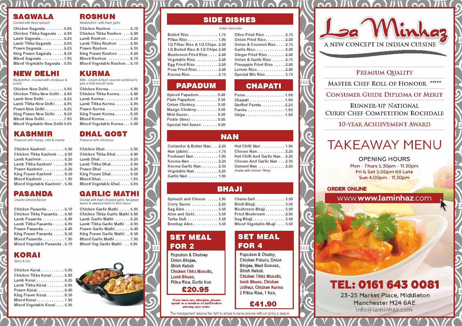 La Minhaz Take Away Menu
