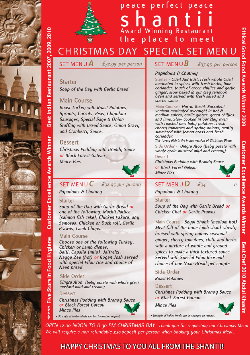 Christmas & NYE | Shantii Indian Restaurant